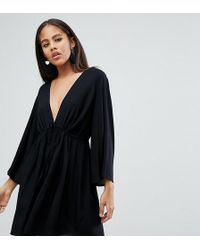 a7057a8a14 ASOS - Asos Design Tall Smock Playsuit With Tie Waist - Lyst