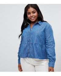 40d360c353 ASOS - Asos Design Curve Denim Shirt With Ruffle Hem In Midwash Blue - Lyst