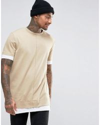 ASOS - Super Longline T-shirt In Heavy Jersey With Contrast Hem And Cuff In Beige - Lyst