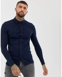 ASOS - Muscle Fit Button Through Jersey Polo In Navy - Lyst