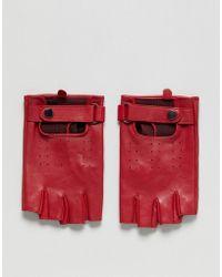 ASOS - Leather Fingerless Gloves In Red - Lyst