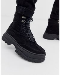 ASOS - Lace Up Boot In Black Faux Nubuck With Chunky Sole - Lyst