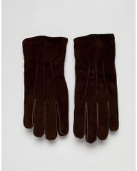 French Connection - Suede Gloves In Brown - Lyst