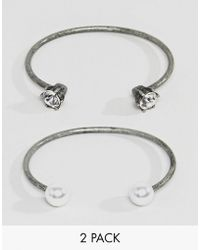 Steve Madden - 2 Piece Pearl And Stone Casted Open Cuff Bracelet - Lyst