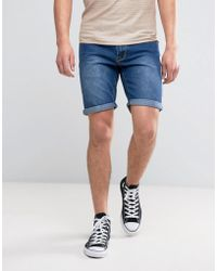 Liquor N Poker - Relaxed Denim Short Mid Wash - Lyst
