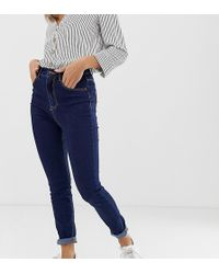 Pimkie - High Waisted Skinny Jeans In Dark Blue - Lyst