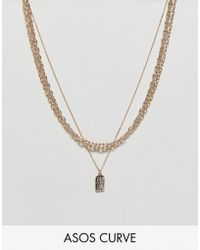 ASOS - Asos Design Curve Multirow Necklace With Mixed Link Chain And Tag Pendant In Gold - Lyst