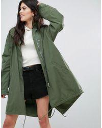 Missguided - Khaki Sequin Back Oversized Parka - Lyst