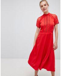 Liquorish - A Line Lace Detail Midi Dress - Lyst