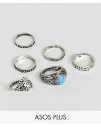 ASOS DESIGN - Plus Chunky Ring Pack With Eagle And Stones In Burnished Silver - Lyst