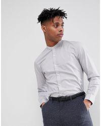 French Connection - Plain Poplin Grandad Slim Fit Shirt - Lyst