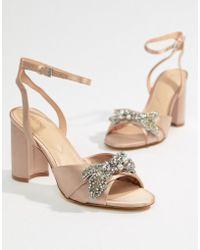 a045ee93aae ALDO - Embellished Blush Block Heeled Sandals - Lyst