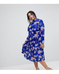 ASOS - Bright Floral High Neck Cut Out Midi Dress - Lyst