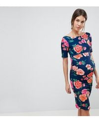 ASOS - Bardot Dress With Half Sleeve In Dark Floral - Lyst