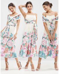 ASOS - Multiway Debutante Midi Prom Dress In Floral - Lyst