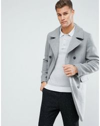 Stradivarius | Double Breasted Wool Overcoat In Grey | Lyst