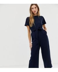 Warehouse - Cropped Jumpsuit With Belt In Navy - Lyst