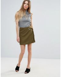 First & I - Mini Wrap Over Skirt - Lyst