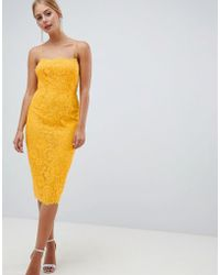 ASOS - Square Neck Pencil Dress In Lace - Lyst