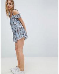 Glamorous - Floral Pleated Crinkle Skirt - Lyst