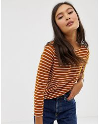 ASOS - Slouchy Long Sleeve T-shirt In Stripe - Lyst