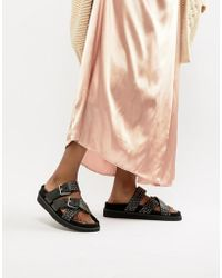 AllSaints - Nadia Suede And Stud Sandal - Lyst
