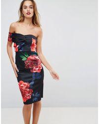 ASOS - One Shoulder Folded Floral Midi Bodycon Dress - Lyst
