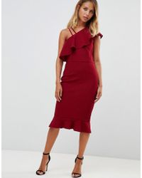 Girl In Mind - One Sholder Frill Midi Dress - Lyst