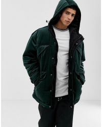d3e20ad2f66c4 ASOS - Parka Jacket In Velour - Lyst · ASOS - Plus Bomber Jacket In Navy  Check Velour With Ring Pull ...