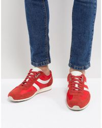 BOSS - Suede Nylon Mix Sneakers In Red - Lyst