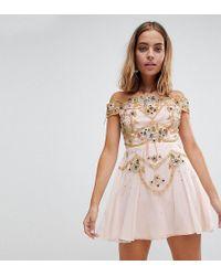 Frock and Frill - Premium Embellished Bardot Bodice Mini Skater Dress - Lyst