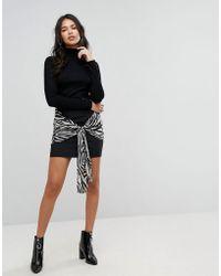 PRETTYLITTLETHING | Zebra Tie Detail Mini Skirt | Lyst