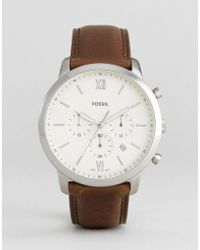 Fossil - Fs5380 Neutra Chronograph Leather Watch In Brown - Lyst