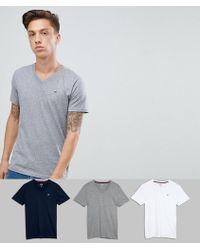 Hollister - 3 Pack V-neck T-shirt Seagull Logo Slim Fit In White/grey/navy - Lyst