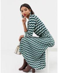 Mango - Chevron Pleated Midi Skirt In Turquoise - Lyst