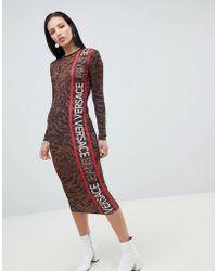 Versace Jeans - Animal Print Logo Midi Dress - Lyst