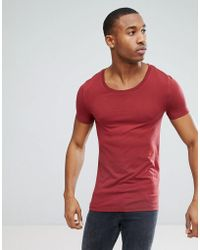 ASOS DESIGN - Muscle Fit T-shirt With Scoop Neck In Red - Lyst