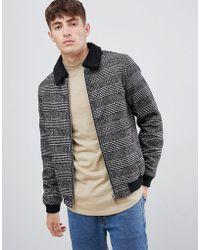 Solid - Fleece Collar Worker Jacket In Pow Check - Lyst