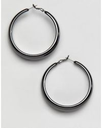 Missguided - Thick Silver Hoop Earrings - Lyst