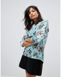 Oasis - Floral Print Velvet Jumper - Lyst