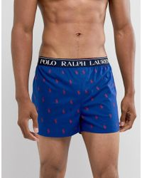 Polo Ralph Lauren - Slim Fit All Over Player Print Woven Boxer Logo Waistband In Blue/red - Lyst
