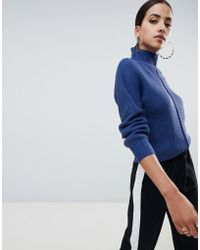 Missguided - High Neck Jumper In Blue - Lyst