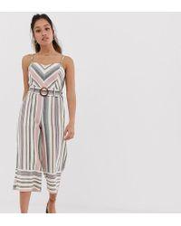 01753d851636 Miss Selfridge - Linen Look Jumpsuit In Chevron Stripe - Lyst