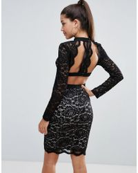 Love Triangle - Allover Lace Pencil Dress With Scallop Back Detail - Lyst