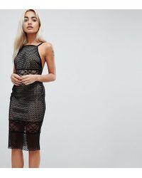 ASOS - Lace & Airtex Mix Midi Pencil Dress - Lyst