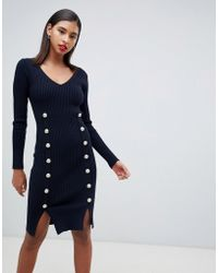 Morgan - Knitted Bodycon Dress With Button Detail In Navy - Lyst