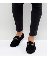 ASOS - Design Wide Fit Driving Shoes In Black Suede With Snaffle - Lyst