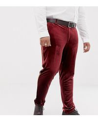 ASOS - Plus Super Skinny Smart Pant In Burgundy Velvet With Gold Piping - Lyst