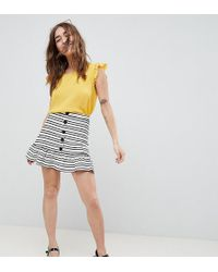 ASOS - Asos Design Petite Stripe Mini Skirt With Pep Hem And Button Front - Lyst