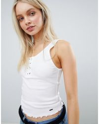 Hollister - Hook And Eye Lace Up Tank - Lyst